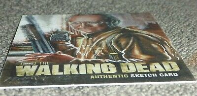The Walking Dead 1/1 Sketch Card Mick Matt Glebe Scott Wilson 2012 Jack Daniels