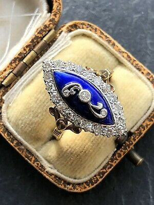 Vintage Yellow Gold Extremely High Quality Diamond Blue Enamel Navette Ring Band