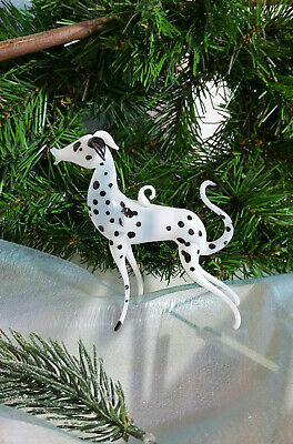Dalmatian, Cryolite Glass, White, Christmas Onaments From Lauscha