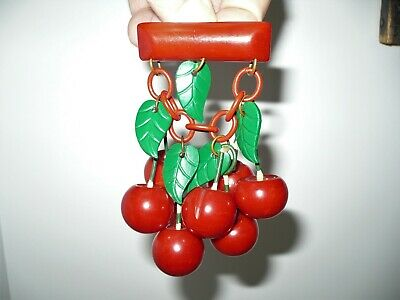 Large & Gorgeous Vintage Red Bakelite Brooch Pin With 8 Large Dangling Cherries