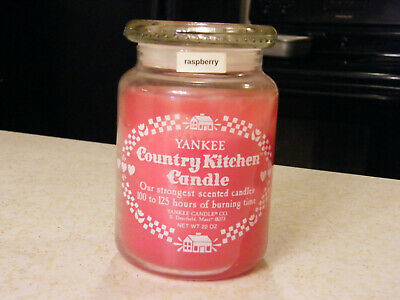 Vtg Yankee Candle Country Kitchen Candle (raspberry) Strong Scent  Estate Used