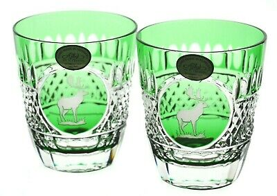 2 Ajka Emerald Green Moose Stag Cut To Clear Cased Crystal Whiskey Glass Rarenew