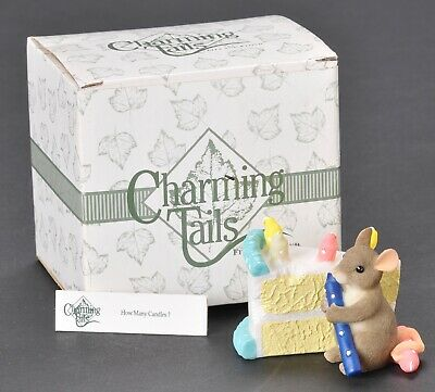 Fitz And Floyd Charming Tails How Many Candles Figurine Mouse Birthday Cake  Box