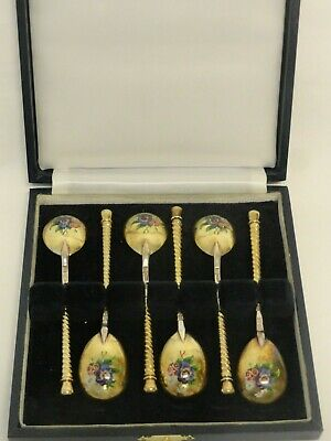 Rare Set Of 6 Antique Russian Silver 88 En Plein Enamel Spoons In Original Box