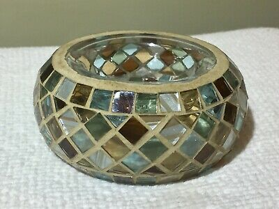 Yankee Candle Mosaic Tea Light Candle Holder / Brown And Blue