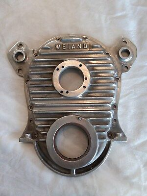 Vintage Weiand Big Block Chevrolet Finned Aluminum Timing Cover  Gasser Dragster