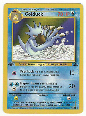 Pokemon Golduck 1st Edition Fossil NM/M 35/62 CCG Unplayed 1999 Uncommon
