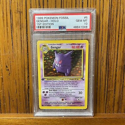1999 Pokemon Fossil Gengar Holo 1st Edition #5 PSA 10 GEM MINT!! RARE - 155 POP!