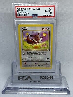 1999 Pokemon Jungle 1st Edition Eevee PSA 10 Gem Mint Rare Card #51 WOTC Vintage