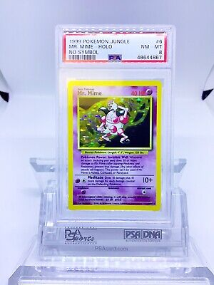 Jungle No Symbol Error Mr. Mime Holo PSA 8 Mint Pokemon Card
