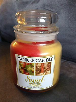 Yankee Candle Macintosh & Harvest Swirl 14.5 Oz Jar Candle - Rare - Brand New