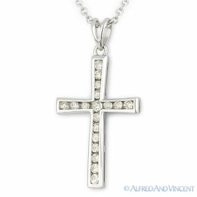 0.30ct Channel Set Diamond Cross Charm Crucifix Pendant Necklace 14k White Gold