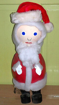 "Authentic Vtg Signed Rutherford Tubby Brown Xmas 25"" Folk Art Santa Claus"