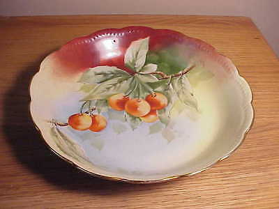 Exquisite Hand-painted Vintage Porcelain Display Bowl Full Of Rainier Cherries