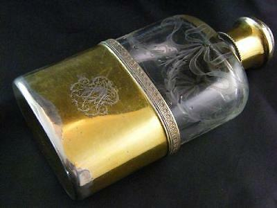 French Etched Glass & Silver Gilt Spirit Flask – G Keller