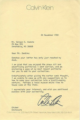 calvin klein autographed signed typed letter