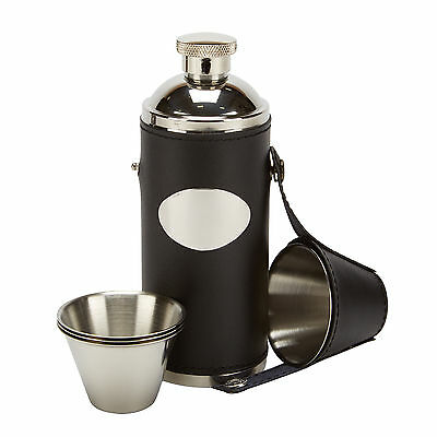8oz leather hip flask 4 tot cups and free funnel  shooting, golf, rugby