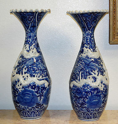 Chinese Pair Of Blue & White Dragon Motif Painted Porcelain Tall Vases E 20th C.