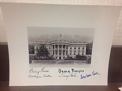 Jimmy Carter Barbara Bush  +3 Signed White House  8x10 Full Signature