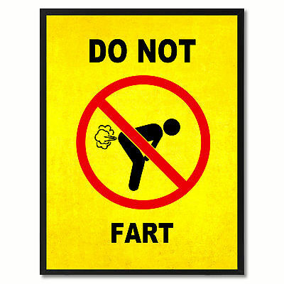 Do Not Fart Funny Sign Yellow Print On Canvas Picture Frames Home Decor Wall Art