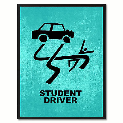 Student Driver Funny Sign Aqua Print On Canvas Picture Frames Home Decor Wall Ar