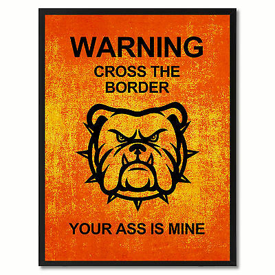 Warning Cross The Border Funny Sign Orange Print On Canvas Picture Frames Home D