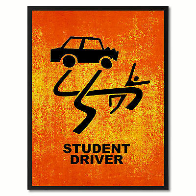 Student Driver Funny Sign Orange Print On Canvas Picture Frames Home Decor Wall