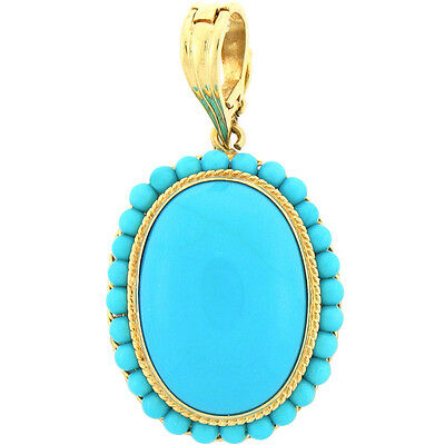 Oval & Round Shape Turquoise Ladies Vintage 18k Yellow Gold Pendant