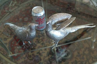 Pair Of Large 1890 Sterling & 800 Silver Pheasant Decanters Movable Head & Wing