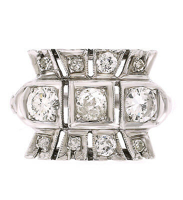 Vintage & Antique 1895-1935 Art Deco Diamond Cocktail Ring In 14k White Gold