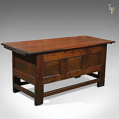 Antique French Coffer, Table Chest, Oak Panelled Storage Trunk, 18th Century