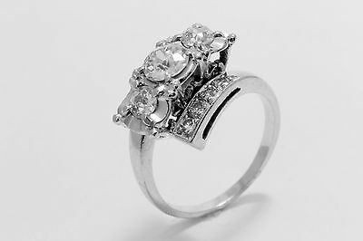 14k White Gold Vintage Art Deco Hand Made 1.15 Ctw Old Mine Cut Diamond Ring