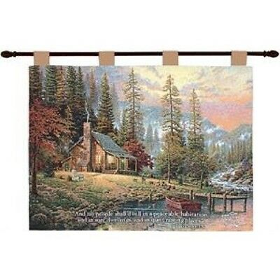 A Peaceful Retreat W/verse Tapestry Wall Hanging By Thomas Kincade