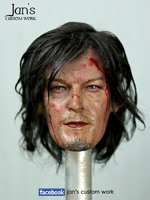 1/6 Hot Custom Repaint Rehair Walking Dead Daryl Dixon Toys Head Dx Enterbay