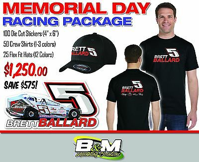 memorial day racing package  shirts, hats and die cut stickers