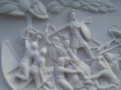 Marble Carved Relief Panel After John Deare Caesar Invading Britain Original Xxc
