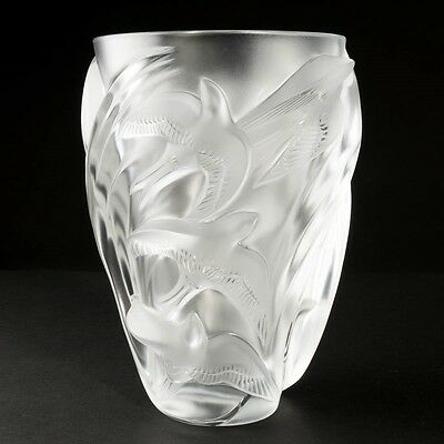 """Signed Lalique Martinets Art Glass Clear Frosted Crystal Vase Raised Birds 9.5"""""""