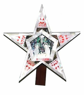 Mother Of Pearl And Olive Wood Nativity Scene Star Brand New