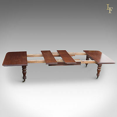 Large, Antique Extending Dining Table, Victorian Mahogany 5 - 14 Feet Long C1870
