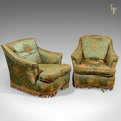 Antique Pair Of Armchairs Club Long Deep Seat Lounge Easy Chair English C.1910