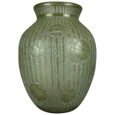 Oversized Antique French Lalique School Arts & Crafts Floral Glass Vase