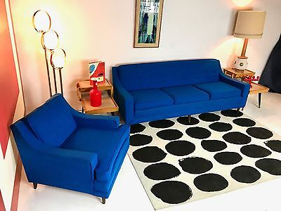 Mid Century Modern Royal Blue Sofa And Matching Chair