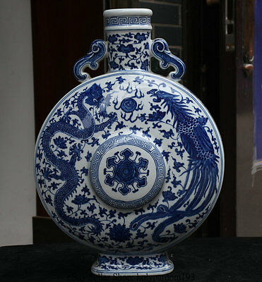 "19.2"" Marked Chinese Blue White Porcelain Dragon Phoenix Lucky Flat Bottle Vase"