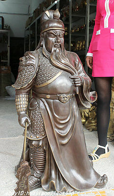 """44"""" Chinese Pure Bronze Carved Dragon Lion Guan Gong Yu Warrior God Sword Statue"""