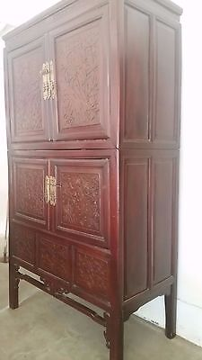 Beautiful Chinese Armoire  Circa 1930  Four Doors Plus Secret Compartment