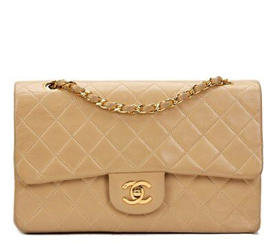 chanel beige quilted lambskin vintage medium classic double flap bag hb807