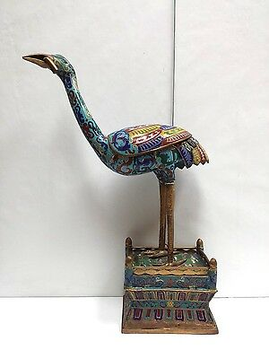 Antique Chinese Cloisonne Figurine Of A Crane