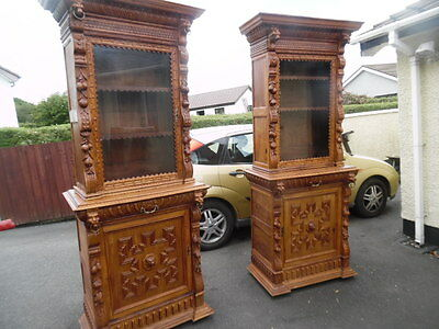 A  Pair Of Carved  Oak Victorian Cabinets