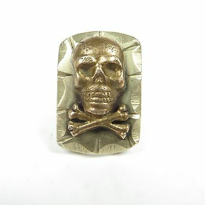 Rare Authentic Vintage Mexican Skull & Crossbones Souvenir Biker Ring Sz:8.5