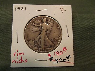 1921 F Silver Walking Liberty Half Dollar, See Our Store, W/dam